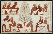 Barbering, Tomb of Userhat - Ancient Egyptian Painting