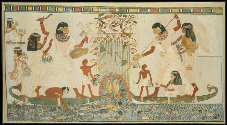 Menna and Family Hunting in the Marshes, c.1422 - c.1411 BC - Ancient Egypt