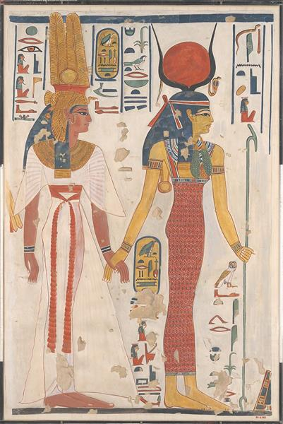 Queen Nefertari Being Led by Isis - Ancient Egyptian Painting