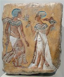 Smenhkara and Meritaton - Ancient Egyptian Painting