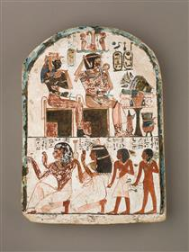 Stela of the Sculptor Qen Worshipping Amenhotep I and Ahmose Nefertari - Ancient Egyptian Painting