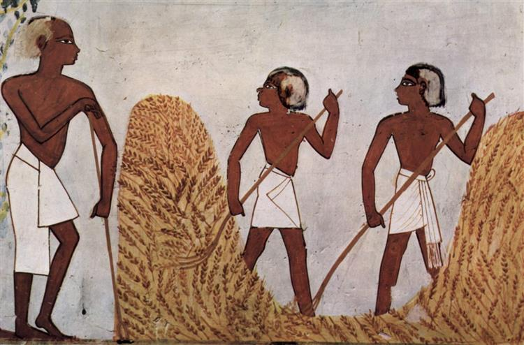 Workers on the Threshing Floor, c.1422 - c.1411 BC - Ancient Egyptian Painting