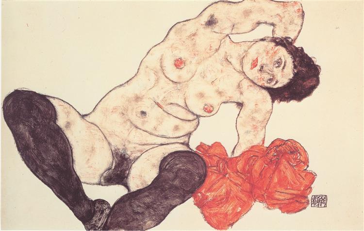 Sitting girl, 1917 - Egon Schiele