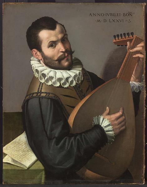 Portrait of a Man Playing a Lute, 1576 - Bartolomeo Passarotti