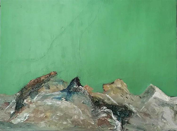 Zeleni Apstraktni Predeo (Green Abstract Landscape) - Sloba Pajkovic