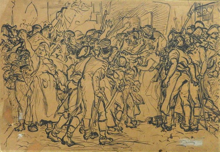 Etude pour l'Arrestation de Charlotte Corday, c.1853 - Alfred Dehodencq