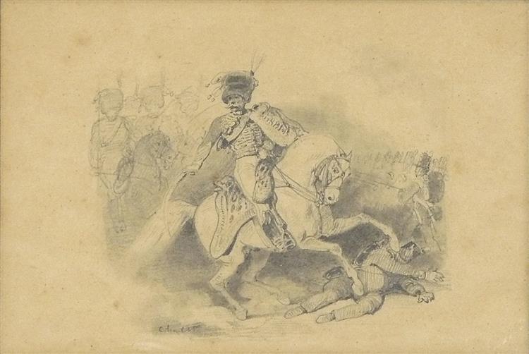 Le Général Lallemand à Waterloo, c.1840 - Nicolas-Toussaint Charlet