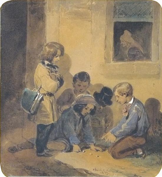 La Partie de Billes, 1837 - Charlet