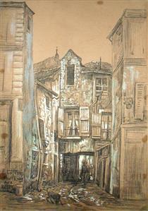 Fontenay Aux Roses, probablement la cour intérieure du 24 rue Boucicaut - Fernand Combes