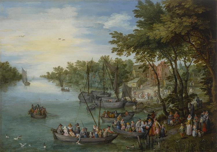 Wooded river landscape with a landing stage, boats, various figures and a village beyond - Jan Brueghel the Elder