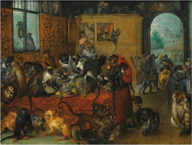 Monkeys feasting (Singerie), c.1620 - Jan Brueghel l'Ancien