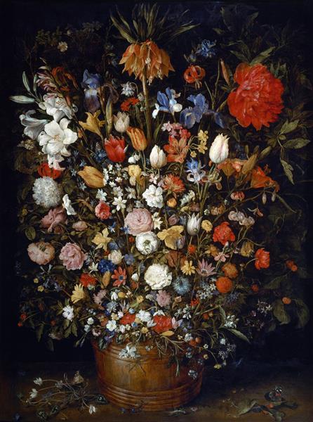 Flowers in a Wooden Vessel, 1606 - 1607 - Jan Brueghel the Elder