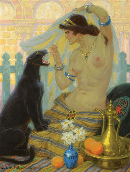 Oriental Taming a Panther, c.1927 - Ludovic Alleaume