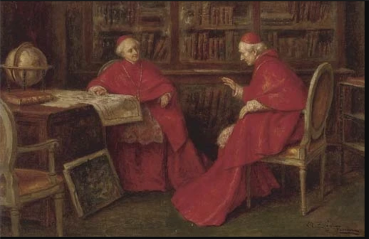 Cardinals Studying a Map - Angelo Zoffoli