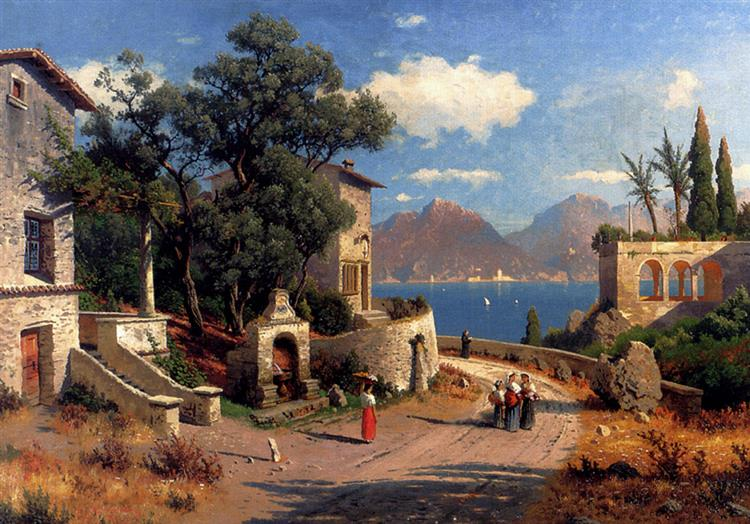 An Italian Village By A Lake, 1892 - Carl Gustav Rodde