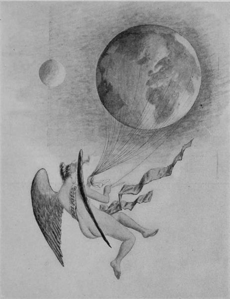Drawing Submitted to the Fourth Estate's Art Competition. A Winged Figure Representing the Press Holds the Earth in a Series of Strings, 1896 - Cassius Marcellus Coolidge