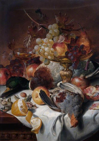 Still Life with Poultry and Fruit - Edward Ladell