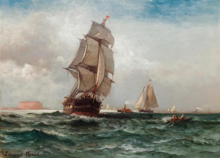 Off Governors Island, 1870 - Edward Moran