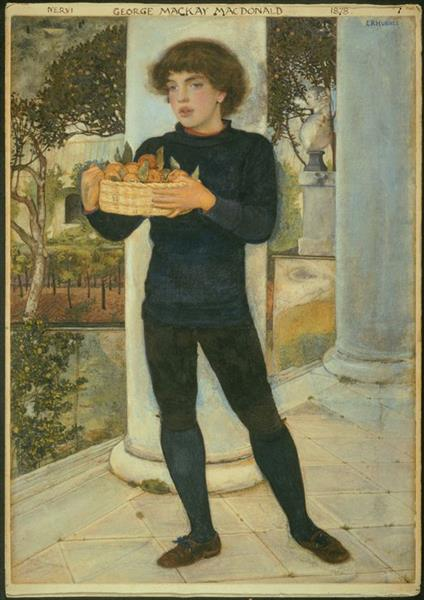 A Basket of Oranges. Portrait of George Mackay Macdonald, 1878 - Edward Robert Hughes