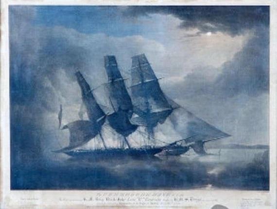Black Joke Engaging the Spanish Slave Brig Maranerito in the Bay of Biafra, 1831 - George Philip Reinagle