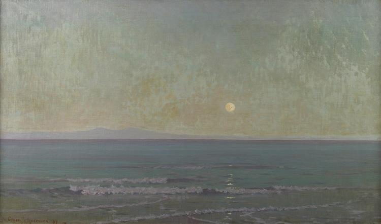 Quiet Moonlight (beyond Catalina Island) - Granville Redmond