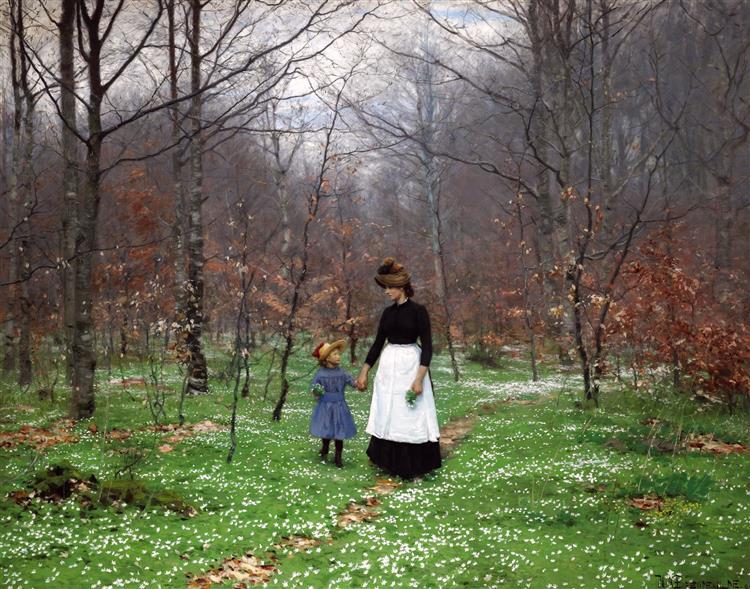 Springtime; the First Anemones, 1889 - Hans Andersen Brendekilde