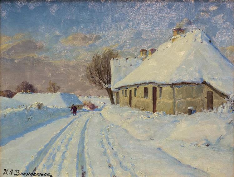 Solskin I Landsbyen En Vinterdag - Hans Andersen Brendekilde