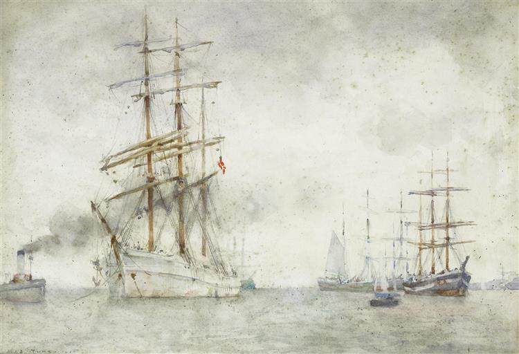 A Norwegian windjammer in Falmouth Roads - Henry Scott Tuke