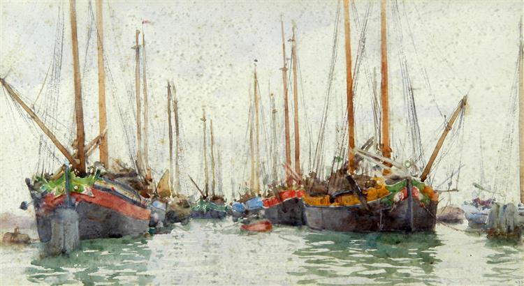 Gaily coloured fishing vessels at anchor - Henry Scott Tuke