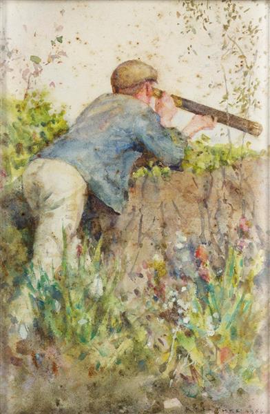 Man Looking Through a Telescope - Henry Scott Tuke
