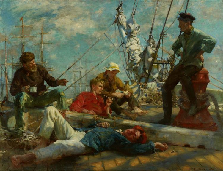The midday rest sailors yarning - Henry Scott Tuke