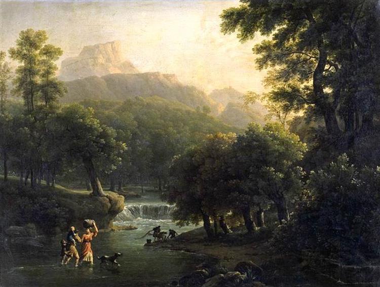 Landscape with Figures Crossing a River - Jean-Joseph-Xavier Bidauld