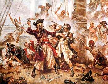 Capture of the Pirate, Blackbeard, 1718, Depicting the Battle Between Blackbeard the Pirate and Lieutenant Maynard in Ocracoke Bay - Jean Leon Gerome Ferris