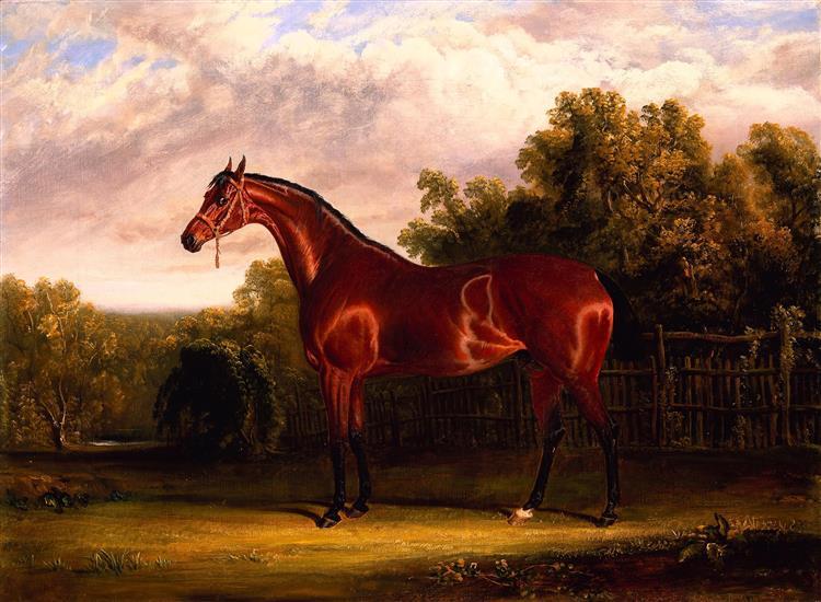 Negotiator, a Bay Horse in a Landscape - John Frederick Herring Sr.