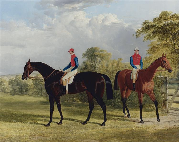 The Earl of Chesterfield's Industry with W Scott up and Caroline Elvina with J Holmes up in a paddock, 1838 - John Frederick Herring Sr.