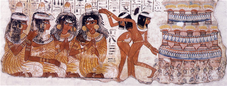 Banquet Scene with Dancers and Musicians, Nebamun's Tomb, c.1550 - c.1295 BC - Ancient Egypt