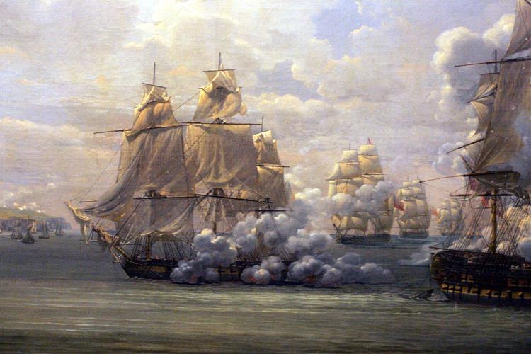 """Combat De La Poursuivante Contre L'hercule, 1803 (""""fight of the Pou - Луи-Филипп Крепен"""