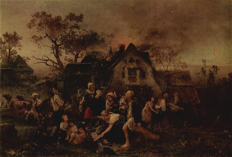 Fire in the Village, 1854 - Ludwig Knaus