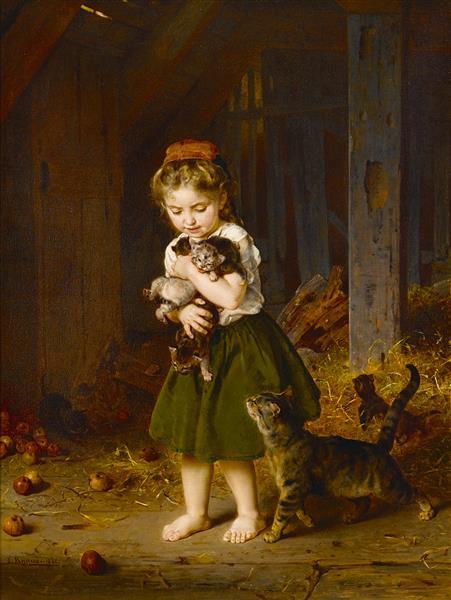 A Playful Burden, 1865 - Ludwig Knaus
