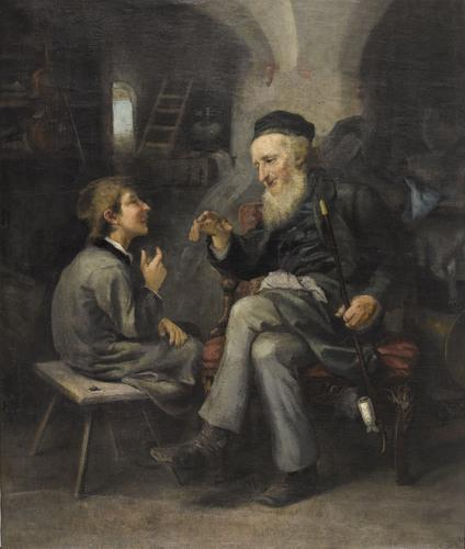 Grandfather and Grandson Talking - Ludwig Knaus