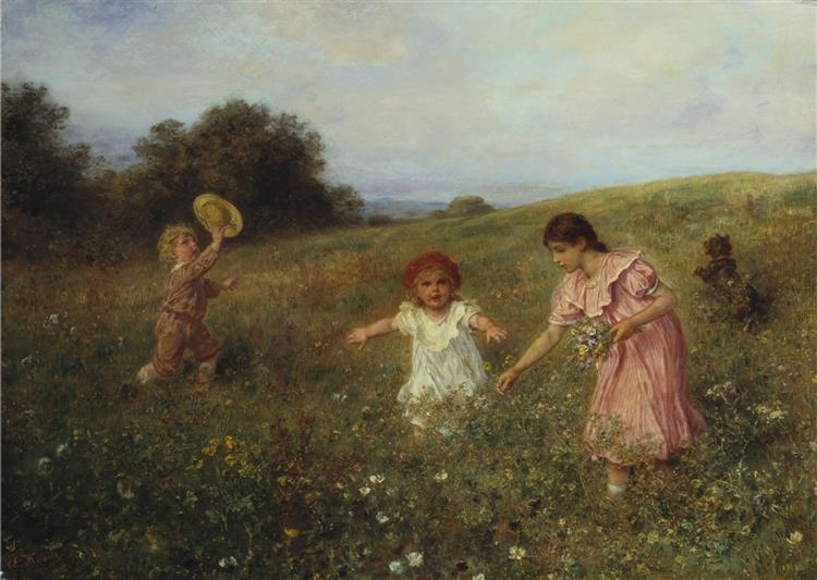 In the Spring Meadow - Ludwig Knaus