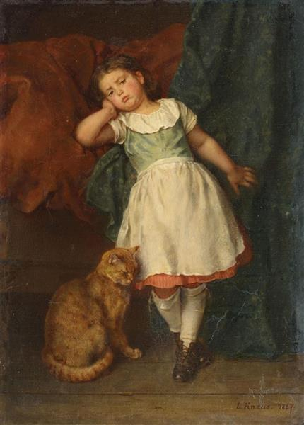 Little Girl with Cat, 1867 - Ludwig Knaus