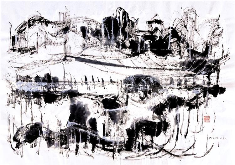 The Dubovac Castle above the pond, 2020 - Alfred Freddy Krupa