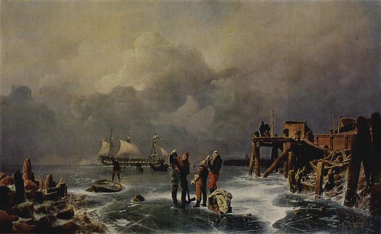Ufer des zugefrorenes Meeres - Andreas Achenbach