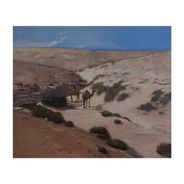 CAMELS AT RUMAITHA WADI, 1983 - Rashid Al Khalifa