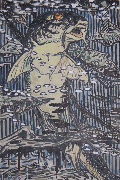 Carp with yellow eye, 1922 - Hélène Guinepied