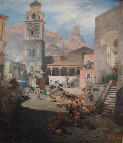 Marktplatz Amalfi - Oswald Achenbach