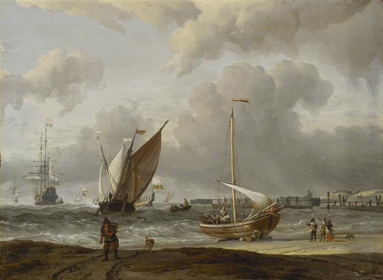 Fischerboote Im Sturm Vor Der Holländischen Küste Bei Den Helder - Abraham Storck