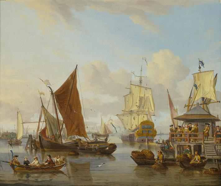 Shipping off Amsterdam, 1700 - Abraham Storck