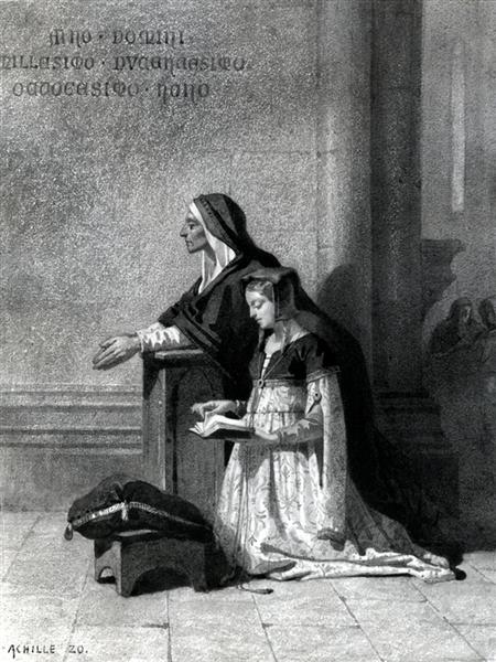 Marguerite in Church Listening to the Dies Irae - Jean-Baptiste Achille Zo